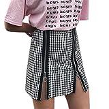 ADESHOP Femmes Lattice Zip Retro Treillis Jupe ÉPisséE Zipper Jupe Taille Haute Mode Serré Zipper éCossais Jupe (S)