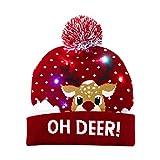 OurWarm Luce per Cappello di Natale a LED, novità Cappelli Natalizi Lavorati a Maglia Cappello Berretto Lampeggiante Sciocco per Bambini Adlut Regalo per la Festa di Compleanno di Natale, Rosso