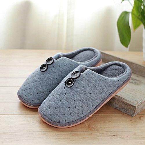 DogHaccd pantofole,La camera ha una parte antiscivolo pantofole inverno paio di pantofole di cotone femmina maschio spessa soggiorno caldo Inverno Home Grigio3