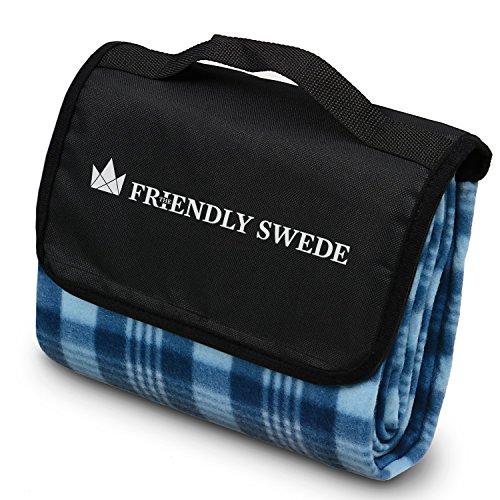 The Friendly Swede Picknickdecke Wasserdicht, Isoliert • Faltbare Outdoor Stranddecke, Badedecke, Gartendecke mit Tragegriff - Blau • VIMMERBY
