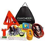 Auto Emergency Kit, Multifunktionale Pannenhilfe 24-In-1 Auto Notfall-Kit mit Starthilfekabel, Werkzeugtasche und Pannenwerkzeug, Sicherheitsweste,Abschleppseil,Taschenlampe,Reifendruckmessgeräte,Sicherheits-Hammer, etc