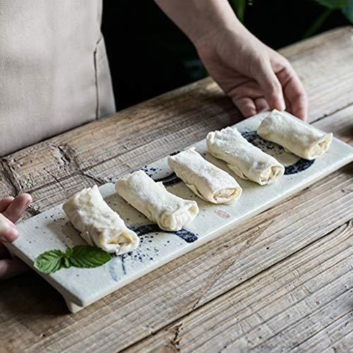 XIUXIU Assiette Rectangulaire De Style Japonais Avec Assiette Peinte À La Main Et Assiette En Céramique Pour Assiettes À Sushi [1 Paquet] (Color : B)