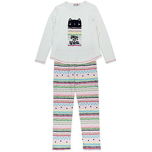 boboli Interlock Pyjamas for Girl, Conjuntos de Pijama para Niñas, Marfil (Off White 1111), 104 cm