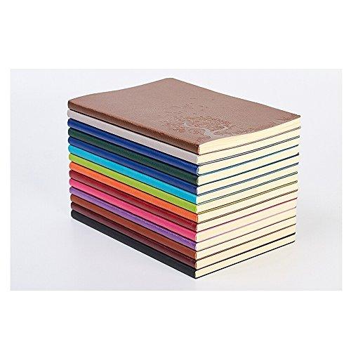xiduobao A5Größe PU Leder Colorful Schreiben, Notebook Tagebuch, tägliche Notizblock Cute Travel Journal zu schreiben in mit liniertes Papier (Set von 4, stochastische Farbe) (Liniertes Papier Journal)