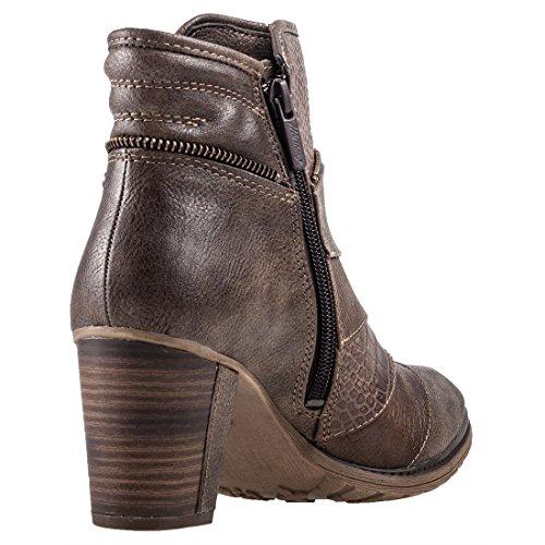 Mustang 1199-517 Schuhe Damen Stiefeletten Ankle Boots Braun