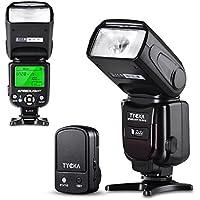 Tycka Luz básica de flash con control remoto inalámbrico 2.4G, pantalla LCD, M Multi S1 S2 modos de flash, protección contra sobrecalentamiento para Canon Nikon Sony Olympus Pentax Cámaras DSLR con zapata estándar