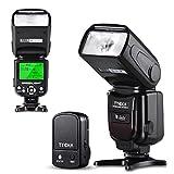 Tycka Basic Speedlight Blitzlicht-Gerät mit 2,4G Funk Auslöser Fernbedienung, LCD Display, M Multi S1 S2 Blitzmodi, Überhitzungsschutz für Canon Nikon Sony Panasonic Olympus Pentax DSLR Kameras mit Standard-Blitzschuh