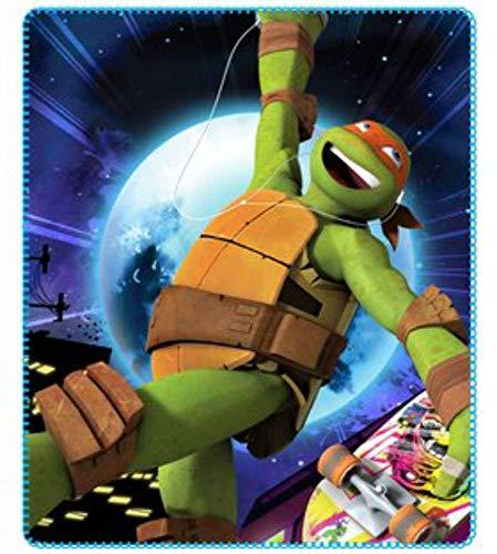 Teenage Mutant Ninja Turtles - Kuscheldecke hochwertige Mikrofaserdecke Fleecedecke Kinderdecke Wohndecke Fleece Weiche Kuschelige Ninja Turtles Decke tolles Geschenk - 120 x 140 cm -(DS01) Fleece-turtle