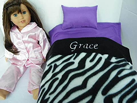 Doll Bedding Personalized Zebra Print Blanket Set with Bright Purple Sheet and Pillow for American Girl Doll Grace by Hand Made by Annie Jo All Dolled Up