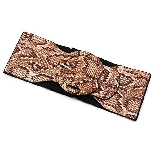 Cinturón Elástico De Piel De Serpiente Hebilla Redonda Cinturón Elástico Vestido Cintura Ancho Cinturón, 2