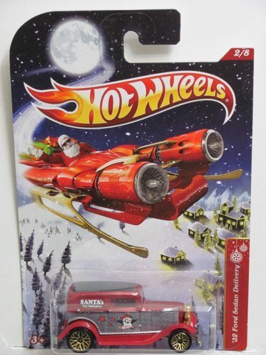 Hot Wheels Holiday Hot Rods '32 Ford Sedan Delivery Red/Silver/Green Roof #2/8 by Mattel
