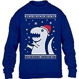 KIDS - T-Rex Santa Weihnachtspullover Motiv Witzig Kinder Pullover Sweatshirt Medium Blau