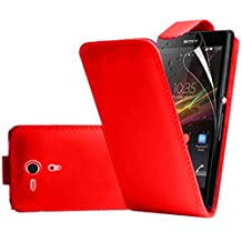 VCOMP® Housse Coque Etui rabattable en simili cuir pour Sony Xperia SP M35h C5302 C5303 C5306 - ROUGE