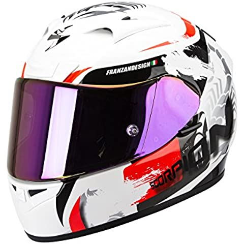 SCORPION EXO-710 AIR CERBERUS casco integral Blanco - Rojo Talla: L