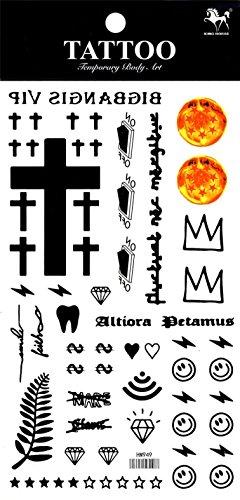 Grashine - tatuaggi temporanei a lunga durata, diversi e unici, a forma di croce, stelle, diamanti, dollaro, ecc.