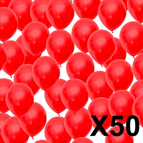 50 Club Balloons Decorations Set Metaillic Look Balloons Birthday Wedding Party Balloons Design Diameter Approx  30  cm red