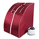 Cabina Sauna a vapore,Sauna domestica in casa, Bagno di vapore portatile a casa Mobile Sauna,1000W (rosso)