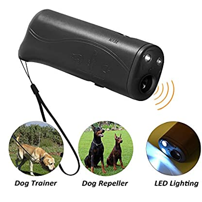WIRSV 2pack Dog Repeller,3 in 1 Anti Barking Stop Bark Ultrasonic Pet Dog Repeller Training Device Trainer With LED (2 X… 4