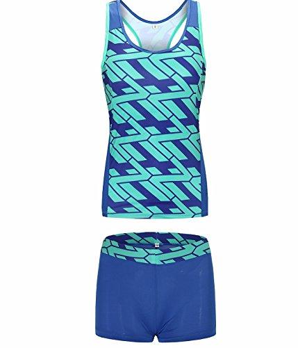 I VVEEL Komfortable sportliche Yoga Spa für Damen gepolsterte Push Up Bikini Badeanzug (Beste Schwimmen Kostüme Für Große Büste)