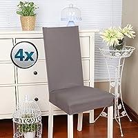 Fundas para sillas pack de 4 fundas sillas comedor fundas elásticas, cubiertas para sillas,bielástico Extraíble funda, muy fácil de limpiar, duradera (Paquete de 4, Gris)