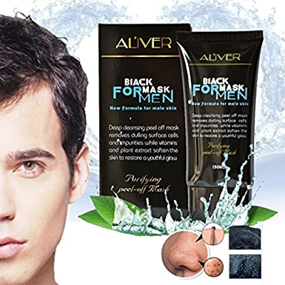 Blackhead Remover,Saingace Men Black Mud Deep Cleansing Purifying Peel Off Facail Face Mask Remove Blackhead Facial Mask from Saingace