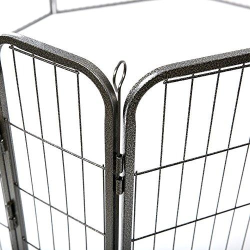 TRESKO® Welpenlaufstall Freilaufgehege Welpenauslauf Hundelaufstall Tierlaufstall Hunde, mit Tür und wetterfester Hammerschlag-Lackierung - 2