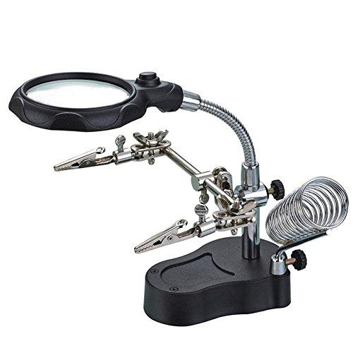 Preisvergleich Produktbild EMOTREE Dritte Hand 3, 5 / 12 Fach Vergrößerung LED Lupe mit Halter Klemmen Platinenhalter Löthilfe Arbeitsplatz