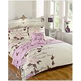 Juego de funda nórdica y funda de almohada, diseño de mariposas, poliéster, morado y beige, funda de edredón cama individual (dormitorio de niña)