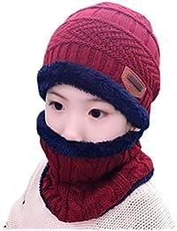 ECHERY Unisex Bambini Slouchy Beanie Caldo dello Sci della Neve di Cappello  Sciarpa Set Ragazzi Ragazze f2fdfdc955f5