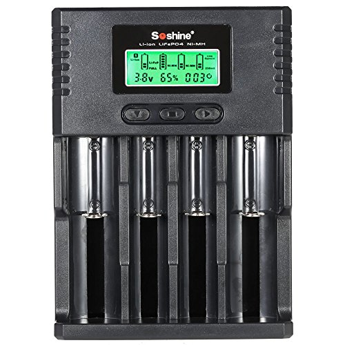 Lixada Chargeur de Pile 4 canaux LCD Courant Réglable pour batterie rechargeable Li-ion / LiFePO4 / NiMH / Ni-Cd 3.7V / 3.2V sélectionnable (1.2V) 16340 14500 10440 18650 26650 AA AAA