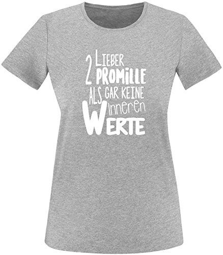 Luckja Lieber 2 Promille als gar keine inneren Werte Damen Rundhals T-Shirt  Grau/
