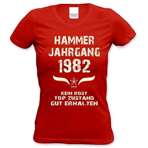 trendiges t Shirt Damen Girlie Motiv Hammer Jahrgang 1982 zum 34. Geburtstag Jahrgangs-T-Shirt Geschenk cooles Outfit Farbe: rot Rot