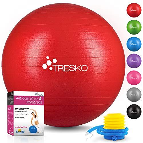 TRESKO® Anti-Burst Gymnastikball 55cm 65cm 75cm 85cm | Sitzball | Yogaball | 300 kg | mit Luftpumpe (Rot, 65cm (geeignet für 155-175cm)) -
