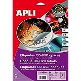 Apli - Paquete De 200 Etiquetas Cd / Dvd Clásicas Cobertura Total 117/18
