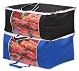 #2: Yellow Weaves™ Underbed Storage Bag, Storage Organiser, Blanket Cover with Designer Handles, Set of 2 Pcs - Blue & Black Color - (Extra Large Size)