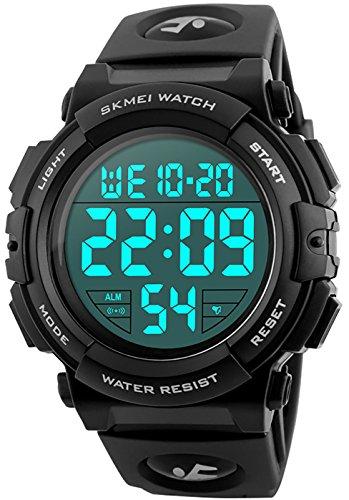 CIVO Digitaluhr Herren Jugendliche Jungen Sport Militär Uhr Große Nummern 50M Wasserdicht Einfach Entwurf Army Herrenuhr LED Beleuchtung Beiläufig Armbanduhr Gummi Schwarz