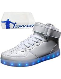 (Present:kleines Handtuch)Braun EU 36, Schuhe bunt Leucht Leuchtend USB Unisex LED Herren Damen Sport schuhe Paare Herbst JUNGLEST® mode Winter Erwachsene und