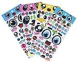 140 x Aufkleber mit großen Augen, Lippen, Brillen, Bärten, Haarbändern aus PVC-Schaumstoff, Aufkleber zum Basteln und Erstellen von Grußkarten