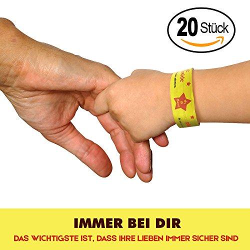20er Set Notfall-Armband für Kinder   Wasserfest   Namensband   SOS Armband für mehr Sicherheit Ihrer Kinder (Kinder-armbänder)