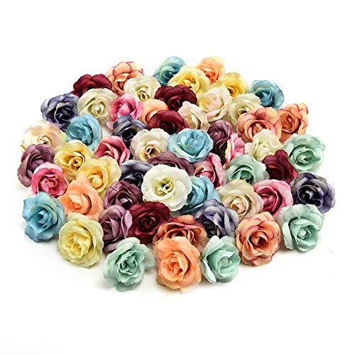 Nwsx fiori di seta teste di fiori finte teste di fiori di seta artificiali decorazione per feste di matrimonio fiori finti 30pcs 3.5cm (multicolor)