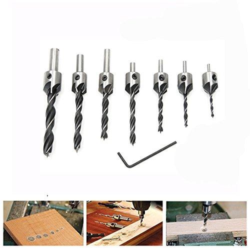 Fortag 8 tlg HSS 5 Flute Senker Bohrer Set Screwdriver Reibahle Holzverarbeitung Countersink Drill Werkzeug 3-10mm
