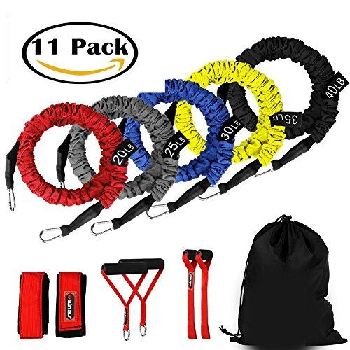 ynxing 12 set di fasce di resistenza per esercizi set kit per allenamento fitness tubi per allenamento con anta, maniglie, cinturini per caviglia, valigetta per il trasporto