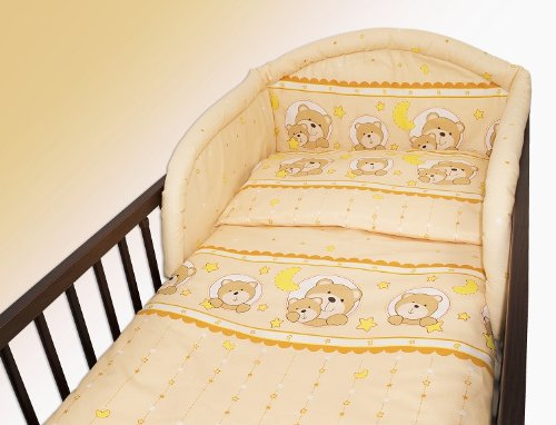 2 Piece/Pc BABY BEDDING SET COT BED QUILT/DUVET PILLOW CASE COVER 150×120 (Teddy Window Cream)