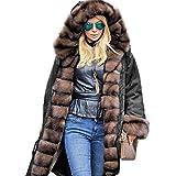 Roiii Frauen Luxus Winter Lange Warme Dicke Parka Braun Cafe Kunstpelz Jacke mit Kapuze Mantel Plus Größe