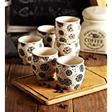 Handcrafted White Matte Finish Decal Ceramic Kullad Mugs-Set Of 6