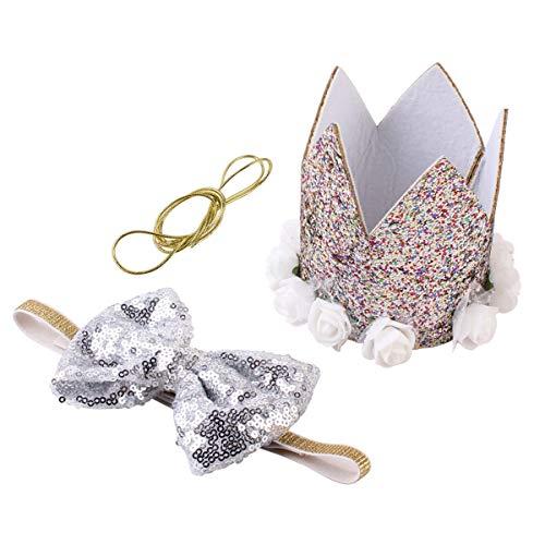 Jinxuny Hunde-Halstuch, süßes Party-Hut für Mädchen Jungen, tolles Hundekostüm, Geburtstagsgeschenk und Party-Dekorationsset Silber