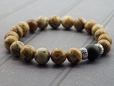 Bracelet pour homme en perles de jaspe et perle en Agate
