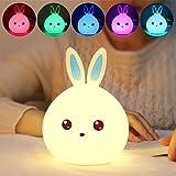 Multi-Color-Nachtlicht für Kinder, Hase, LED, Enshey Nachttischlampe, tragbar, aus Silikon, niedliche Hasenform, variable LED-Farben Touch-Control, USB, wiederaufladbar blau