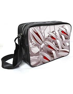 Snoogg Abstrakt Weiß Blumen Leder Unisex Messenger Bag für College Schule täglichen Gebrauch Tasche Material PU