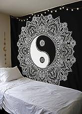 SheetKart YinYang Wall Hanging Tapestry 144 TC Cotton Bedsheet - Black
